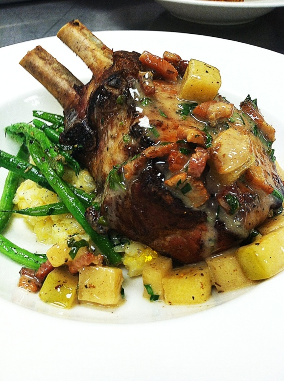 ... Pork Chop with Butternut Squash Risotto, Haricot Verts and Apple Bacon